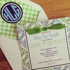 It's a precious and preppy invitation for a bow-tie first birthday party!! I Custom by Nico and Lala