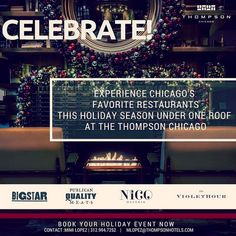 We're teaming up with @nicoosteria, @bigstarchicago, @publicanquality, and @violethourchicago this holiday season to offer catering from Chicago's best restaurants at our parties and events. Please reach out to mlopez@communehotels.com if you're interested in hosting with us!