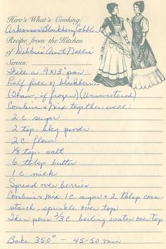 Arkansas Blackberry Cobbler from the kitchen of Debbie's Aunt Nellie Retro Recipes, Old Recipes, Vintage Recipes, Cookbook Recipes, Baking Recipes, Recipies, Family Recipes, English Recipes, 13 Desserts