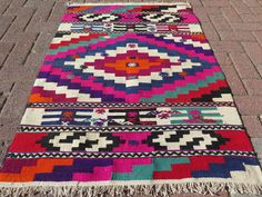 Rare Handwoven Wool Turkish Kilim Rug Carpet From Southern of Turkey Antalya Region Nomads Weaving!! The Antalya Nomads Called this Design As