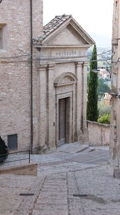 Spello in the Province of Perugia in Umbria, Italy. Church in the Via Porta Prato.