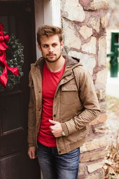 essentials for guys this winter // shop outerwear for guys | Buckle Holiday Style, Holiday Fashion, Men's Coats And Jackets, Essentials, Leather Jacket, Guys, Denim, Winter, Shopping