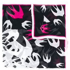 McQ Alexander McQueen Swallow Print Scarf ($134) ❤ liked on Polyvore featuring accessories, scarves, mcq by alexander mcqueen, patterned scarves and print scarves