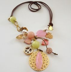 Jute Handmade Necklace with Pink and Gold Pendants - Fashssories - Fashion and Accessories
