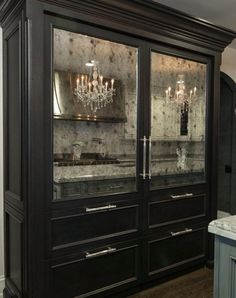 OMG THIS is my dream fridge!! Antique mirror and all. Credit to Joey Leicht Design