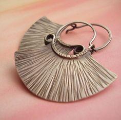 Medium Silver Blade Hoops - Handmade Sterling Silver Hoop Earrings - Tribal Inspired Metal Contemporary Jewelry via Etsy
