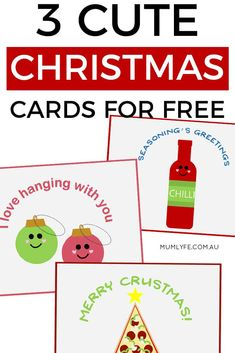 3 free Christmas cards to download and print - super cute Free Printable Christmas Cards, Cute Christmas Cards, Christmas Crafts For Kids To Make, Homemade Christmas, Happy Husband, Thing 1, 21st Gifts, Gifts For Teens, Cute Cards