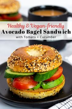 Vegan Avocado Bagel Sandwich with Tomato and Cucumber - Super simple and easy avocado bagel sandwich with tomato and cucumber! The refreshing veggies with creamy avocado on a toasted bagel is a healthy and tasty breakfast! It is a cream cheese free and vegan-friendly recipe! Best Vegetarian Sandwiches, Vegan Sandwich Recipes, Grilled Cheese Recipes, Vegan Dinner Recipes, Healthy Breakfast Recipes, Vegan Recipes Easy, Breakfast Ideas, Bagel Sandwich, Veggie Sandwich