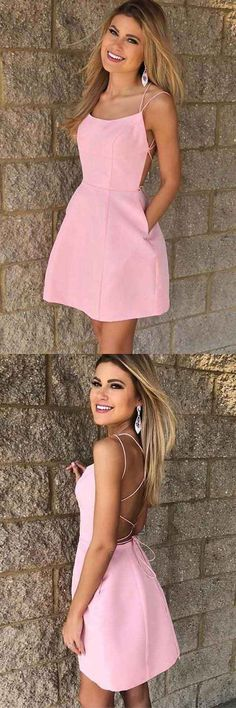 073494552f9 Sexy Spaghetti Straps Short Pink Cheap Homecoming Dress with Pockets PD102   homecoming  homecomingdresses  . Pgmdress