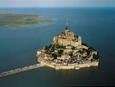 Mont Saint Michel - Normandy, France - sister to Mt. Saint Michael in the UK.  This is truly a city on a castle... when I was there the water wasn't fully surrounding it, yet...