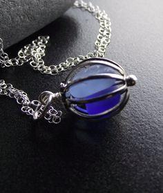 Sea Glass Necklace - Love Birds ---- Cage Locket Jewelry 30.00