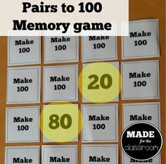 Make 100 - Classic memory game for pairs to 100 100 Games, Math Games, Teaching Math, Teaching Resources, Memory Games, Addition And Subtraction, Get One, Mathematics, The 100