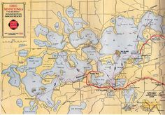 Vintage Twin City Line map of Lake Minnetonka