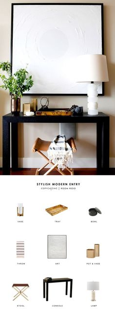 Eclectic modern entryway console by Brian Paquette gets designed on a budget by copycatchic luxe living for less budget home decor and design looks for less