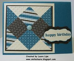 """handmade quilt card ... blues ... big punched square forma an """"optical illusion"""" type of pattern ... luv it ... Stampin' Up!"""