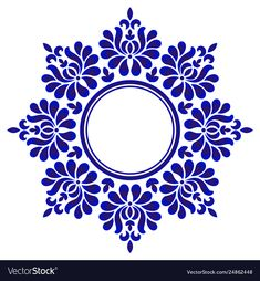 Porcelain floral round vector image on VectorStock Stencils Mandala, Mandala Art, Stencil Designs, Wall Stencil Patterns, Blue Pottery, Circle Art, Principles Of Art, Renaissance Art, Dot Painting