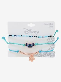 Stitch would approve of this ohana of bracelets! Features a stretchy seed bead bracelet and two adjustable cord bracelets with Lilo & Stitch charms. A BoxLunch Exclusive! Seed Bead Bracelets, Silver Bracelets, Bracelet Set, Silver Rings, Lilo And Stitch Quotes, Lilo Stitch, Cute Disney Outfits, Cute Stitch, Accessoires Iphone