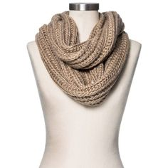 Women's Rib Knit Infinity Scarf Medium Heather Oatmeal ($20) ❤ liked on Polyvore featuring accessories, scarves, loop scarf, tube scarves, infinity scarf, circle scarf and round scarf