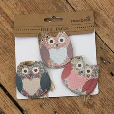 Floral vintage style owl tags, great for gift wrapping and scrapbooking
