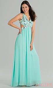 Buy Sleeveless V-Neck Floor Length Dress at PromGirl