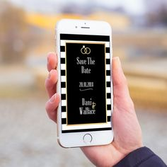 Convite digital celular whatsapp casamento save the date preto listrado