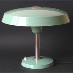Lamp nikkel zachtgroen champignon Erpé Belgisch Art Deco jaren 30