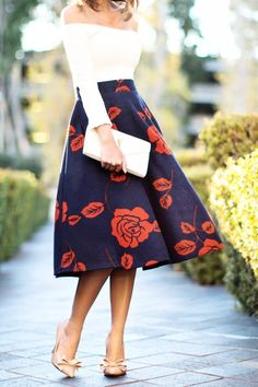 Wedding guest outfit floral midi skirts Ideas for 2019 Mode Outfits, Fashion Outfits, Womens Fashion, Petite Fashion, Skirt Fashion, Ladies Fashion, Look Fashion, Autumn Fashion, Fashion Styles