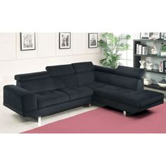 Furniture Of America Sopron Contemporary Style Sectional Sofa In Black  Bella Fabric (Black)
