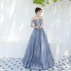 eef5129ce Encantador Azul Cielo Vestidos de noche 2019 A-Line   Princess Fuera Del  Hombro Transparentes