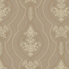 """Heritage Home Raised Ogee 27' x 27"""" Damask Foiled Wallpaper"""