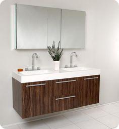 Fresca Opulento Walnut Double-sink Bathroom Vanity with Medicine Cabinet - Overstock™ Shopping - Great Deals on Fresca Bathroom Vanities