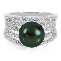 Honora® Black Tahitian Cultured Pearl & 1/7 ct. tw. Diamond Ring in Sterling Silver