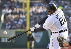 Tigers first baseman Prince Fielder hits his second home run of the game, this one in the fifth inning. (Robin Buckson / The Detroit News)