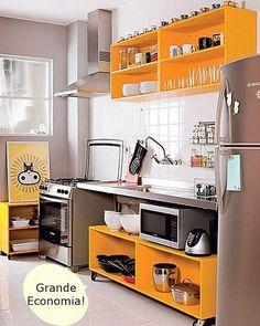 Veja 10 ótimas e economicas soluções temporárias ou não para a sua #cozinhapequena No #SimplesDecoracao ! Link no perfil
