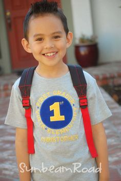 Boy School Shirt with Grade School and Embroidered by SunbeamRoad