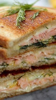 Smoked Salmon & Gruyere Grilled Cheese – Baker by Nature - Sandwich Salmon Recipes, Fish Recipes, Seafood Recipes, Great Recipes, Cooking Recipes, Healthy Recipes, Dinner Recipes, Grilled Sandwich, Soup And Sandwich