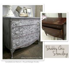 Shabby chic furniture stencil project. http://www.royaldesignstudio.com/