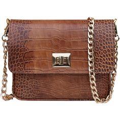 THE CODE HANDBAGS Brown Retro Handbag ($145) ❤ liked on Polyvore featuring bags, handbags, shoulder bags, brown, crocodile handbag, genuine leather handbags, brown leather shoulder bag, leather shoulder handbags and brown purse