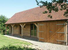 like the overhang Timber Frame Garage, Timber Frames, Wooden Workshops, Room Above Garage, Garage Extension, Oak Framed Buildings, Oak Frame House, Wooden Barn, Rustic Home Design
