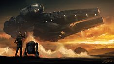 star-wars-art-darek-zabrocki-x-wing-millennium-falcon-halcon-milenario-r2-d2-c-3p0-imperial-tie-fighters-boba-fett-at-at