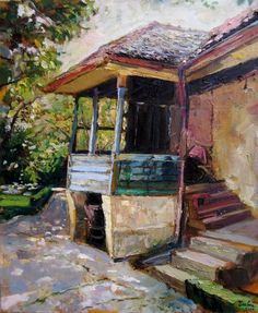Dragoljub Stankovic Civi - ulje na platnu - oil on canvas - 50x60 cm - 2010. Old village house. Stara seoska kuca.