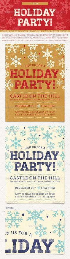 Buy Holiday Party Flyer by everytuesday on GraphicRiver. A holiday party flyer in holiday neutral colors for all of your festive needs! Both color schemes pictured above are .