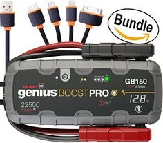 NEW! NEW! NOCO Genius Boost Pro GB150 4000 Amp 12V UltraSafe Lithium Jump Starter & USB Cable, 4 in 1 Multi-Functional Universal USB Charger Cable Adapter Connector (Bundle)