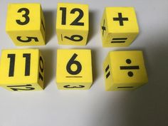 LOT OF 2 LARGE FOAM MATH BLOCKS, 1-12 NUMBERS, MATH SYMBOLS #Unbranded