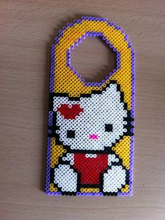 SALE 25% OFF... Hello Kitty Hama / Perler Fused Bead Door Hanger. £3.88, via Etsy.