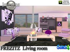 Frezizt Modern Living Room by jomsims at TSR via Sims 4 Updates