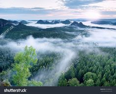 Marvelous Daybreak. Misty Awakening In A Beautiful Hills. Peaks Of Hills Are Sticking Out From Foggy Background, The Fog Is Red And Orange Due To Sun Rays. Стоковые фотографии 453308524 : Shutterstock Splashback, Sun Rays, Awakening, Photo Editing, Royalty Free Stock Photos, Orange, Illustration, Red, Beautiful