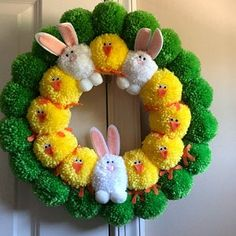 Easter Pom Pom Wreath with Bunnies and Chicks, Bright Easter Pom Pom Wreath, Pom Pom Easter Wreath Pom Pom Crafts, Yarn Crafts, Diy Crafts, Pom Pom Wreath, Diy Wreath, Yarn Pom Poms, Easter Wreaths Diy, Yarn Wreaths, Bunny Crafts
