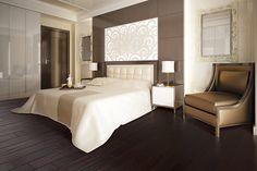 Metal – The Feng Shui of things! Of all the places to explore the possibilities of Feng Shui in your home, the bed is probably the best. Dark Wood Bedroom, Modern Master Bedroom, Master Bedroom Design, Home Bedroom, Bedroom Decor, Bedroom Ceiling, Large Bedroom, Bedroom Lighting, Bedroom Designs