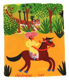 'Tikkoo peeped through the trees. He saw Reeta sitting on her horse.'  From 'A Tiger for Breakfast' published by Bloomsbury in 2011  Media used: Gouache      Original Published Artwork      Unmounted      Dimensions: 180 x 220 mm           £275.00